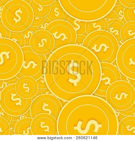 American Dollar Coins Seamless Pattern. Grand Scattered Usd Coins. Big Win Or Success Concept. Usa S