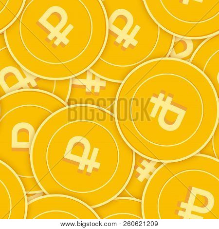 Russian Ruble Coins Seamless Pattern. Dazzling Scattered Rub Coins. Big Win Or Success Concept. Russ