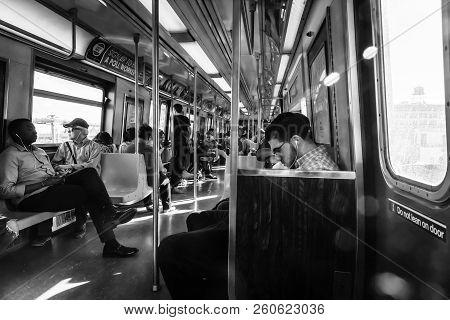 New York, Usa - Sep 22, 2017: New York City Subway. Passengers In The Subway Train Car. Nyc Subway I