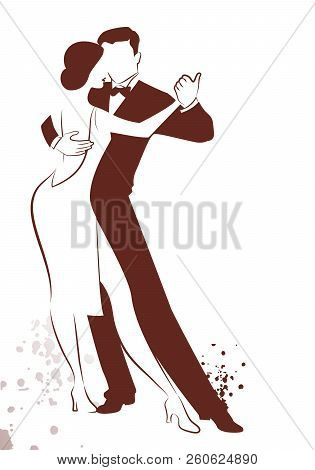 Couple Dancing Tango Drawn Sketch By Line Isolated On White Background And Ink Spots