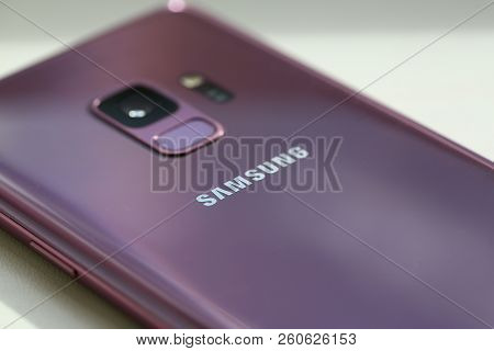 Minsk, Belarus - 29.09.2018 Smartphone Samsung Galaxy S9 Plius  Illustrative Editorial