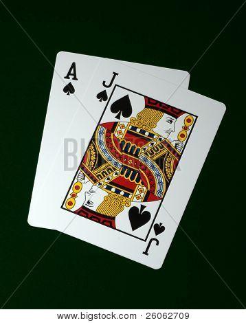 blackjack on green felt