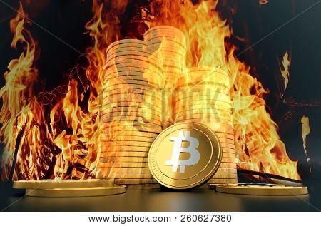 Bitcoin Buring In Bonfire, Price Value Fall Down  Concept Photo