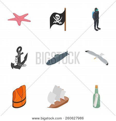 Nautical Icons Set. Isometric 3d Illustration Of 9 Nautical Icons For Web