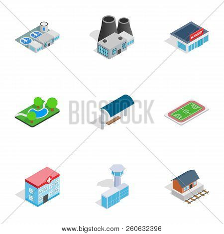 Cityscape Icons Set. Isometric 3d Illustration Of 9 Cityscape Icons For Web