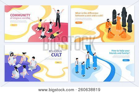 Isometric Religious Cult Design Concept With Collection Of Four Banners With Artwork Images And Edit