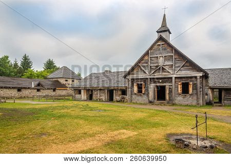 Midland,canada - June 27,2018 - Museum Of Sainte Marie Among Hurons Near Midland. Sainte Marie Among