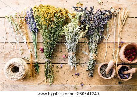 Harvesting Medicinal Herbs, Dry Flowers, Non-traditional Medicine, Ayurveda