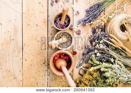 Preparation Of Medicinal Herbs, Dry Flowers, Ayurveda