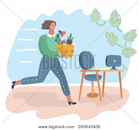 Vector Cartoon Illustration Of Woman Holding A Box With Hand Offering A New Job. Female Character Ca