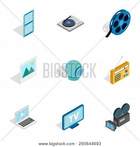 Audio And Video Icons Set. Isometric 3d Illustration Of 9 Audio And Video Icons For Web
