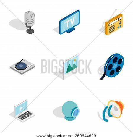 Multimedia Icons Set. Isometric 3d Illustration Of 9 Multimedia Icons For Web