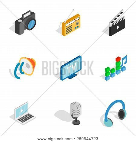 Movie And Video Icons Set. Isometric 3d Illustration Of 9 Movie And Video Icons For Web