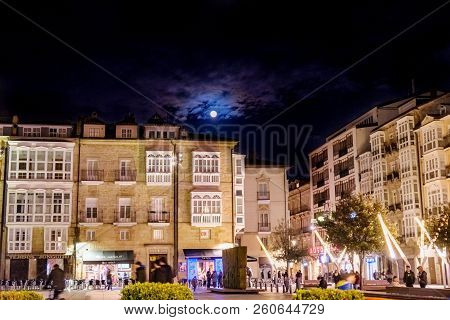 Vitoria, Spain. April 23, 2018: Virgen Blanca Square In The Center Of The City During The Night With