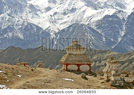 buddhistic stupa (monument) in the Himalayas