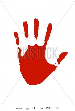 Illustration of a big red hand print poster