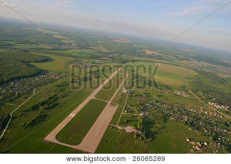 Aerial view of runway