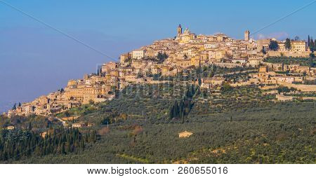 Panoramic View Of The Historic Center Of Trevi, Typical Mediaeval Village In Umbria, Italy