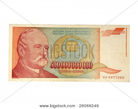 Five hundred billion - 500 billions bill. Bill with most zeros in the economy history. Product of hyperinflation in Yugoslavia '93.