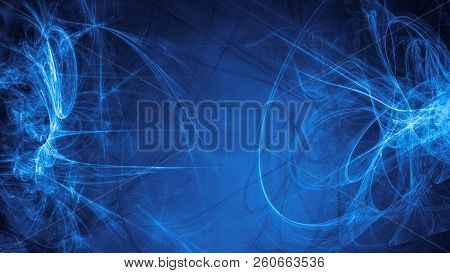 Blue Alien Space Dreams. Composite Abstract Background. Esoteric Fractal Illustration Of Universe En