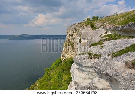 Stone Cliff On The Bend Of The Reservoir In The Village Of Bakota, Ukraine. Bakota No Longer Exists