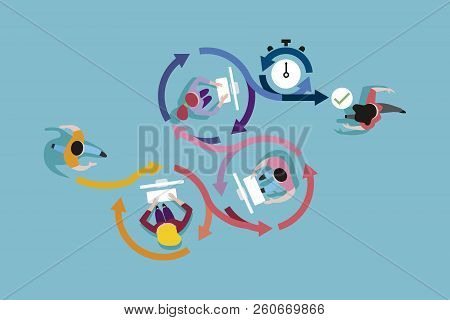 Vector Illustration . Agile Development Workflow Method. Top View Of Developers Team Working On Comp