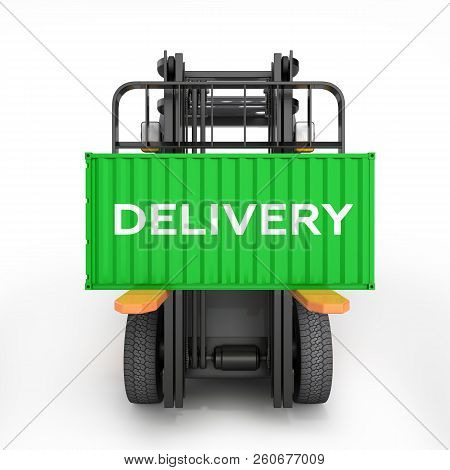 Forklift Handling Small Cargo Shipping Container Isolated On White Background 3d Render