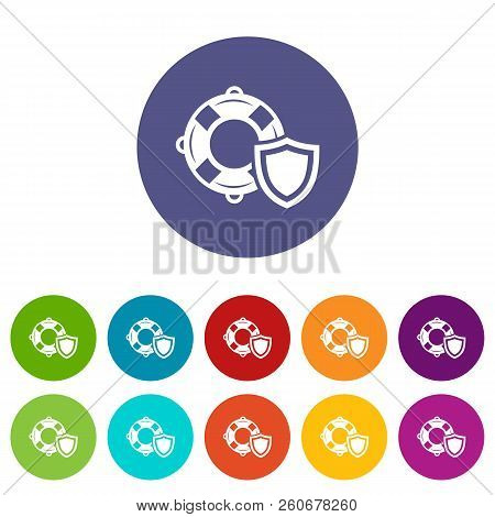Lifeguard Protection Icons Color Set Vector For Any Web Design On White Background