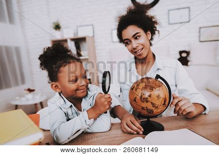 Young Girl And Beautiful Mother Lessons For Girl. Study With Little Girl. Tired Mother And Daughter.