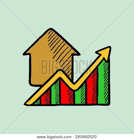 Growth Of Real Estate Prices Vector Sketch Icon Isolated On Background. Hand Drawn Growth Of Real Es