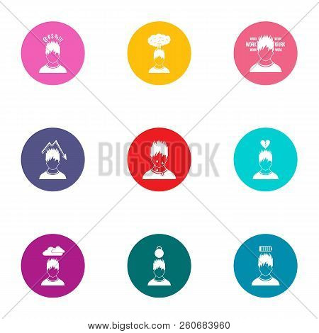 Attitude Icons Set. Flat Set Of 9 Attitude Vector Icons For Web Isolated On White Background