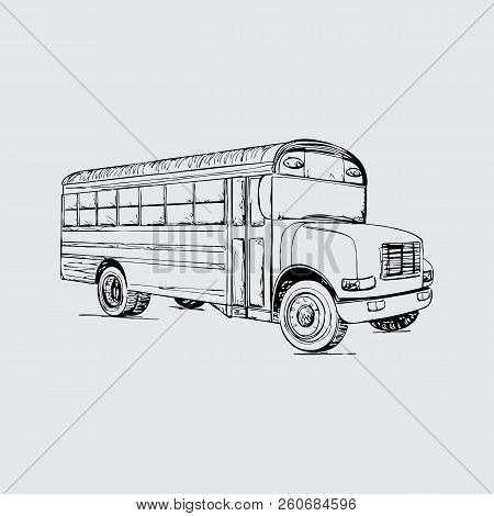 School Bus Vector Sketch Icon Isolated On Background. Hand Drawn School Bus Icon. School Bus Sketch