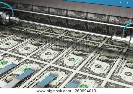 3d Render Illustration Of Printing 1 Us Dollar Usd Money Paper Cash Banknotes On Print Machine In Ty