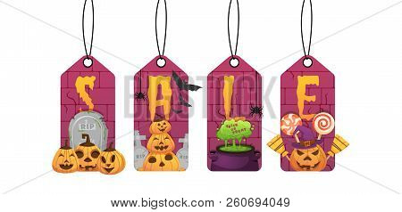 Halloween Sale Labels With Pumpkin Heads, Candies, Witches Cauldron. Vector Illustration Isolated.
