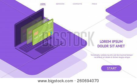 Mobile Flat Payment With Credit Card And Laptop Web Concept. Isometric Style. Ultra Violet Color.  W