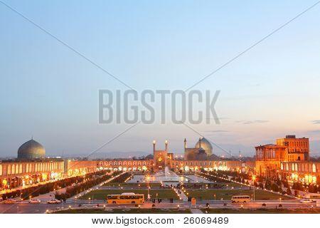 Night view of Esfahan, Iran. Naqsh-i Jahan Square in Isfahan, Iran