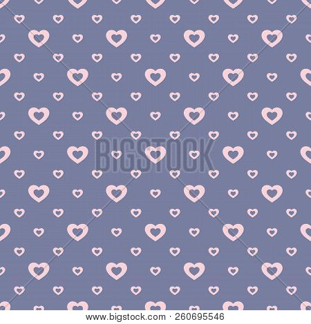 Vector Seamless Pattern With Small Outline Pink Hearts On Blue Backdrop. Valentines Day Background.
