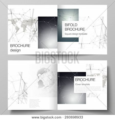 Vector Layout Of Two Covers Templates For Square Design Bifold Brochure, Flyer. Futuristic Geometric