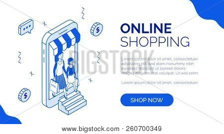 Modern Isometric People Characters With Goods Purchases, Landing Page Mobile Web Online Shopping Con