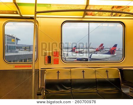 New York, Ny, Usa - September 6, 2018: Inside Of Airtrain Riding Along Airport Terminals In Jfk, Joh