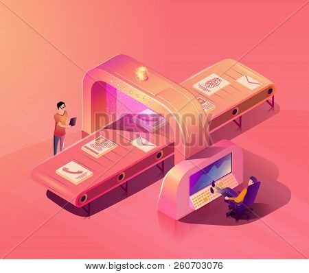 Personal Data Protection Isometric Vector Concept With Personnel Scanning And Checking Users Documen