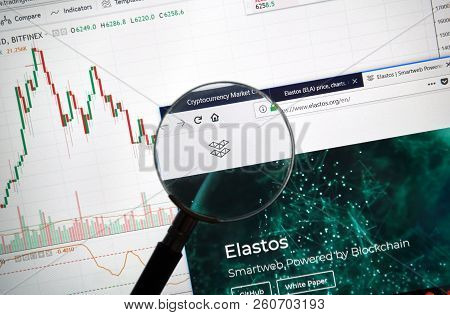 Montreal, Canada - September 8, 2018: Elastos Altcoin Site Under Magnifying Glass. Blockchain Is A G