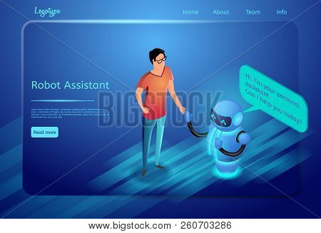 Robot Assistant Concept. Bot Virtual Assistance. Human, Digital Technology And Artificial Intelligen