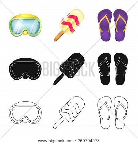 Vector Illustration Of Equipment And Swimming Icon. Collection Of Equipment And Activity Stock Symbo