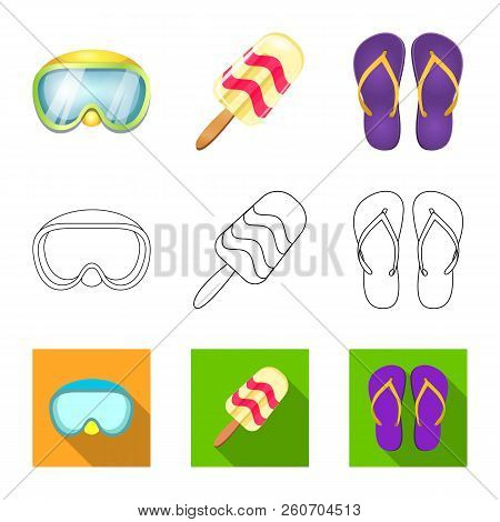 Isolated Object Of Equipment And Swimming Logo. Set Of Equipment And Activity Stock Vector Illustrat