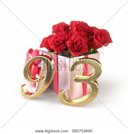 Birthday Concept With Red Roses In Gift Isolated On White Background. Ninety-third. 93rd. 3d Render