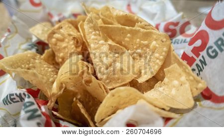 New Orleans, Usa - Nov 29, 2017: Tortilla Chips (made From Corn) Served At The Iconic El Paso Mexica