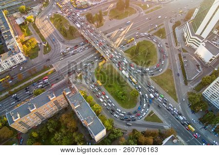 Aerial Drone View Of Two Level Road Junction During Rush Hour. Traffic Jam In Busy Urban Highway Wit