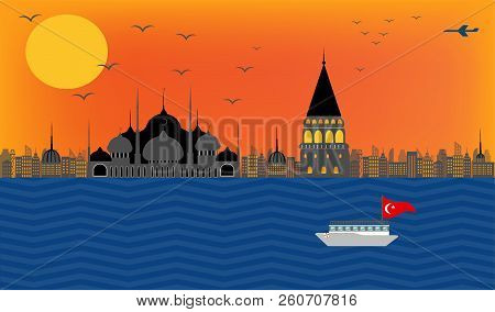 Vector Beautiful View Of Turkey Embankment Istanbul In Blue Mosque And Galata Tower In City With Bui