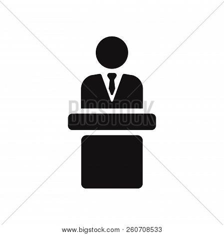 Speaker Podium Icon Isolated On White Background. Speaker Podium Icon In Trendy Design Style. Speake